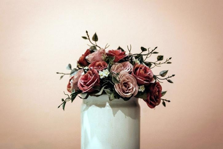 vase, red roses, still life