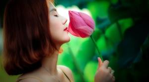 beautiful women, smelling rose