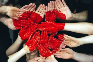 human hands, red heart