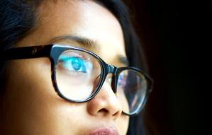 girl, face, glasses