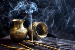 incense sticks, smoke, pots