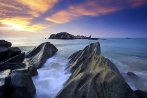 rock formation, landscape, water, waves