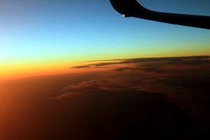 dusk, airplane wing