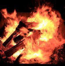 červené, horké ohně, noční, plameny