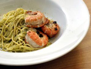 спагети, скариди