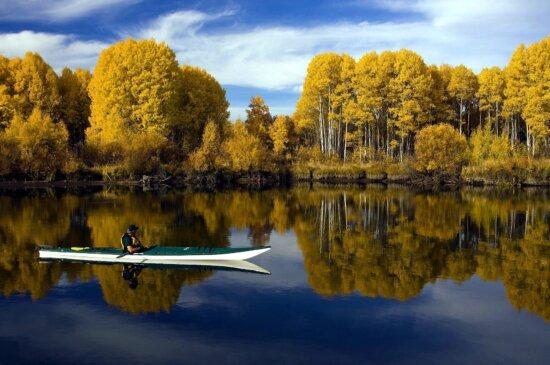 lake, kayaker, landscape, fall