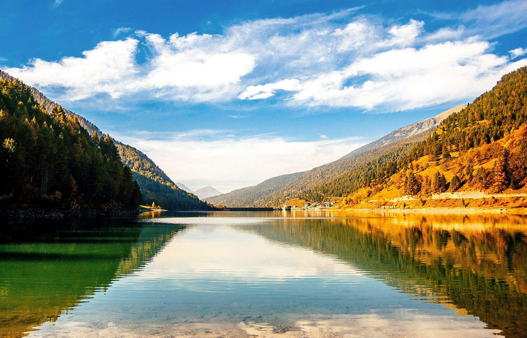 landscape, mountains, lake, sky