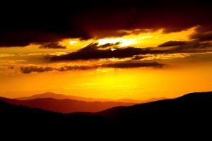 sunet, mountains