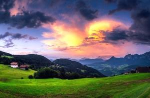 облачное небо, деревья, отпуск, долины, леса