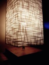 lampe, lumière, moderne, salle, table, bois