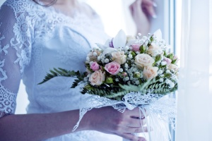 bride, wedding dress, beautiful, blooming flowers, woman