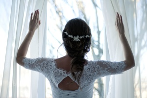 wedding, wedding dress, bride, brunette girl