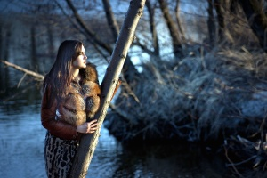 trees, water, woman, glamour, fur