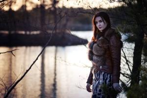 fur, winter, woman, woods