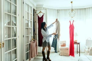 woman,  boots, chair, chandelier, clothes