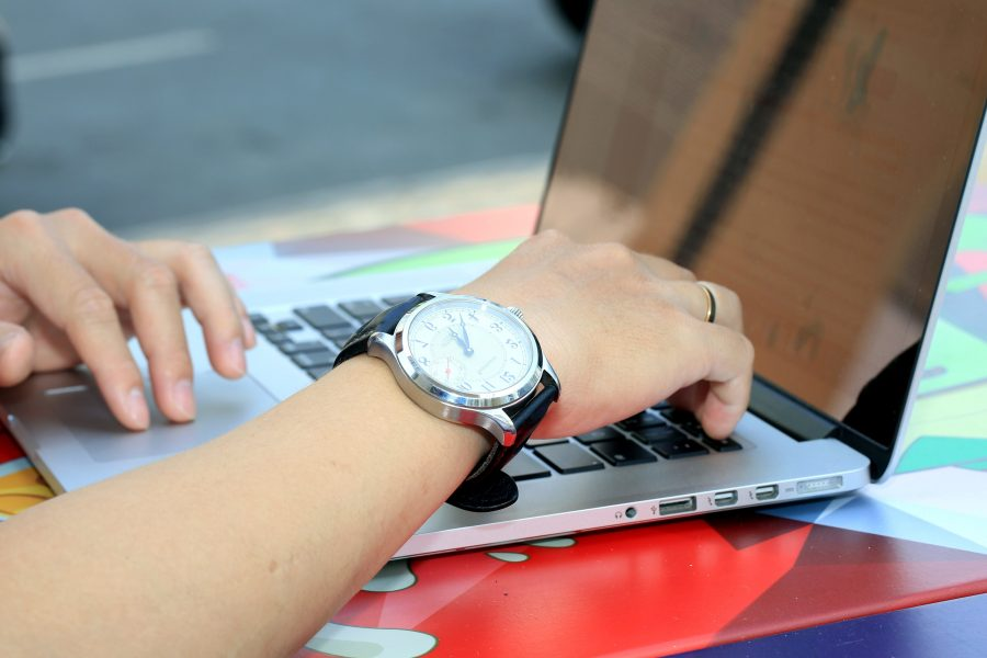 working, laptop computer, hand