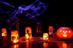 halloween, lanternes, citrouille, toiles d'araignées