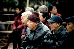 old Asian people, crowd