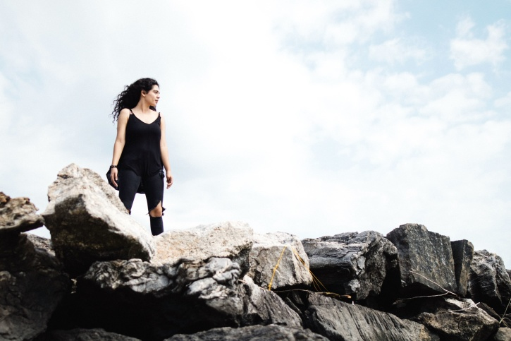 rocks, sky, solo, windy, woman