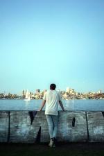 seashore, dock, man, boat, city, water, sea