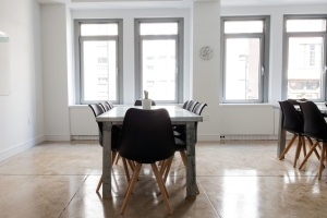room, dinner table, windows, chairs