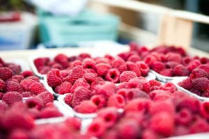 red raspberries, container, fresh fruits