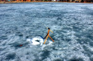 fishing pole, lake, ice