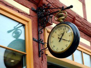 hanging clock, building
