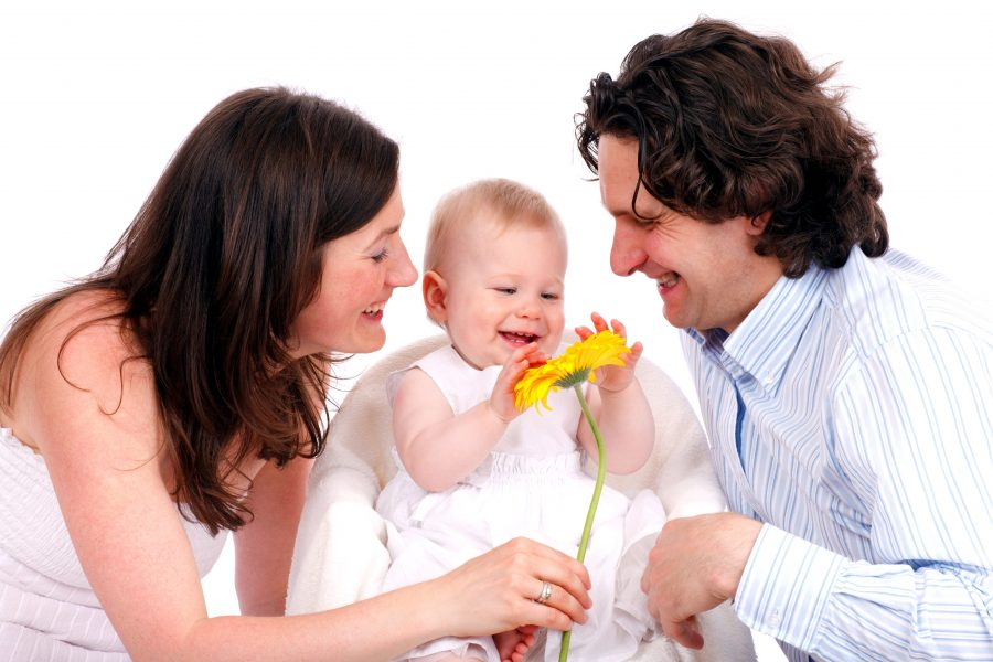 happy family, young child, father, mother