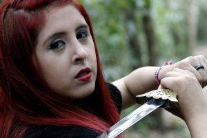 red haired girl, sword, woman hero