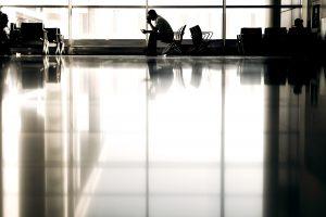 man waiting, airport