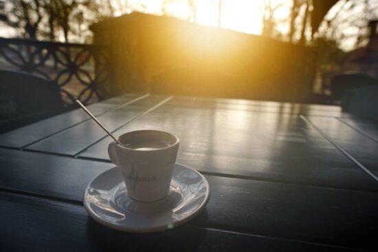 coffee cup, drink, coffee mug, sunset, table, woods