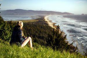 meisje, kustlijn, landschap