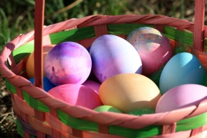 Easter eggs, colored eggs, Easter, basket