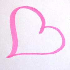pembe kalp, sevgi, pembe, keçeli çizim,