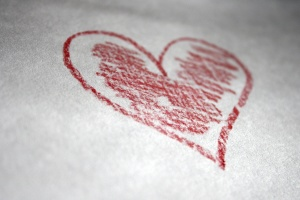 romance, red crayon, heart
