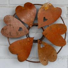 zahrđao metala, srce, vijenac, ukras