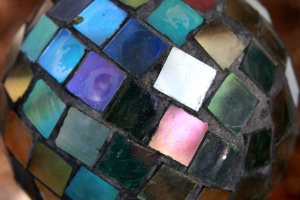 värikäs, lasi, mosaiikki, pallo
