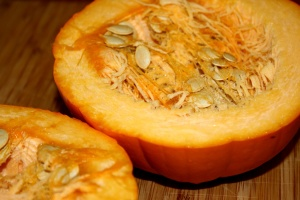 pumpkin cut half, pumpkin seeds