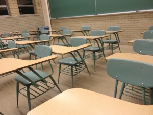 student desks, classroom, chairs, tables