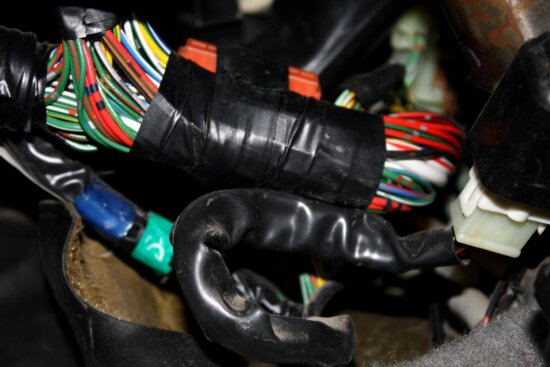 bundle, wires, electrical tape