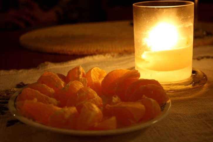 clementine, fruit, glass, candle