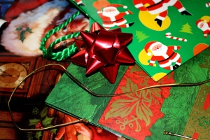 vacanza, regalo, carta da imballaggio, decorazione