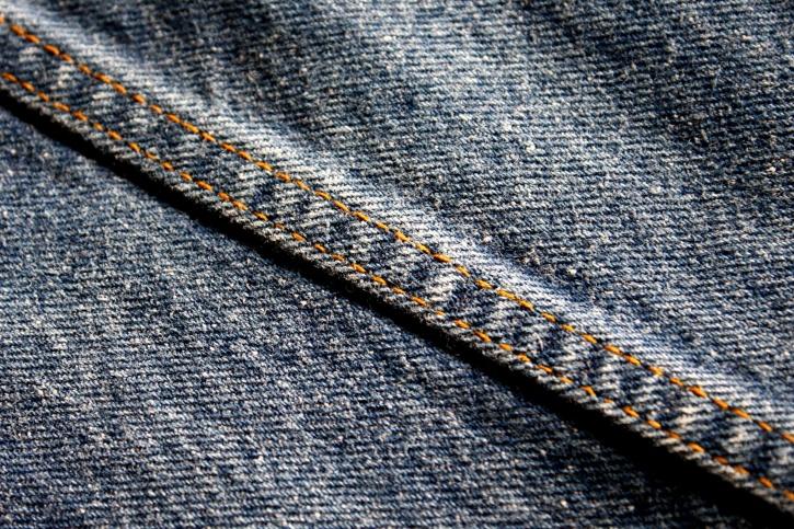 textil, tyg, söm, denim blå jeans
