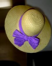 straw hat, purple bow