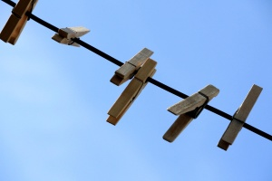 wooden clothespins, clothes, line, blue, sky