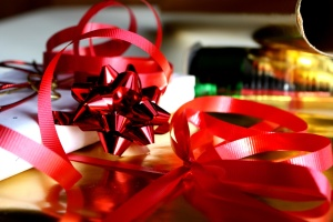 red ribbons, packages, decoration, paper