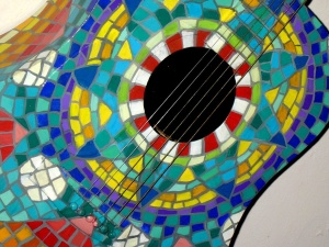 acoustic guitar, painted, guitar, colorful mosaic