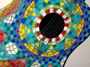 acoustic guitar, painted, guitar, colorful mosaic