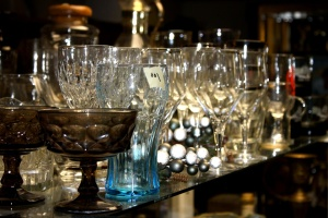 glassware, display, thrift shop